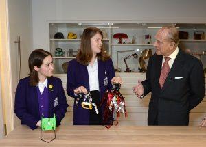 Prince Philip, Duke of Edinburgh with schoolchildren from Sion-Manning RC Girls' School