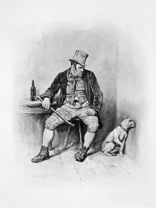 """Bill Sikes and his dog, c1894. The villain from """"Oliver Twist"""". From """"Charles Dickens: A Gossip about his Life"""", by Thomas Archer, published c1894."""